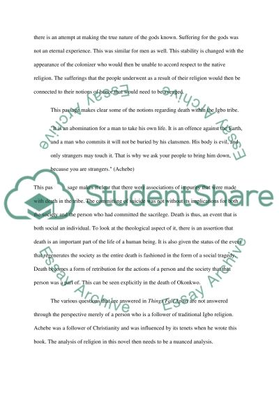 religion in things fall apart essay Essays from bookrags provide great ideas for things fall apart essays and paper topics like essay view this student essay about things fall apart  religion in .