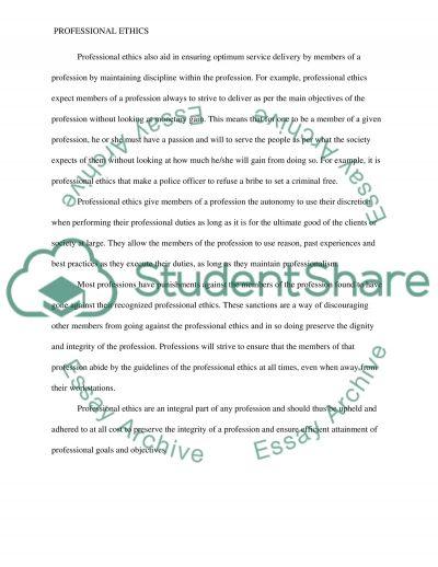 Professional ethics essay example
