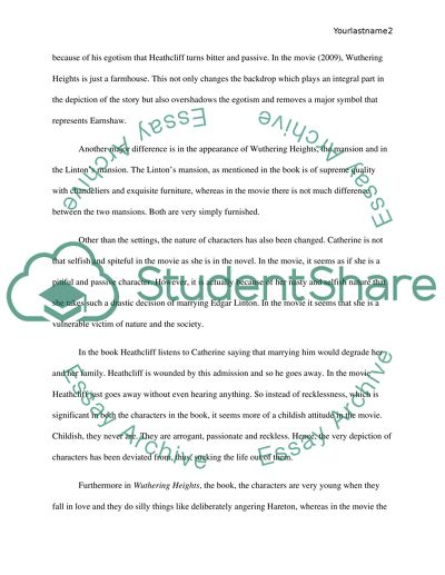 Essay Writing Format For High School Students Comparison Of The Novel Wuthering Heights With One Of Its Film Adaptations Essay Writing Examples For High School also English Essay Story Comparison Of The Novel Wuthering Heights With One Of Its Film Essay English Literature Essay Questions