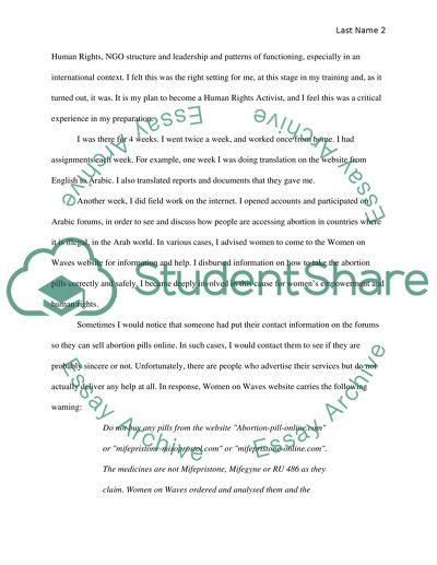 Internship paper for international human rights certificate class