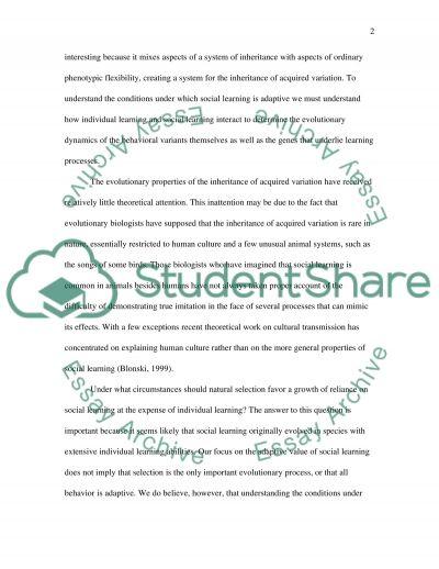 Social Learning essay example