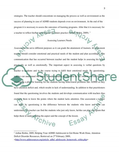 Planning for Learning Essay example