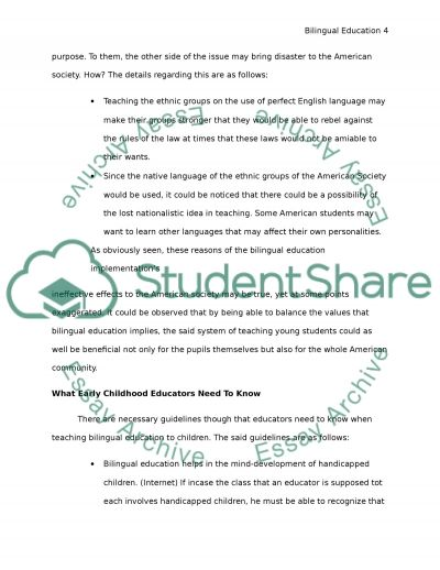 pro bilingual education essays Most schools employ paraprofessionals who assist classroom teachers and  support the students this resource provides interview questions.