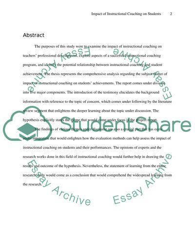 Impact of Instructional Coaching on Students