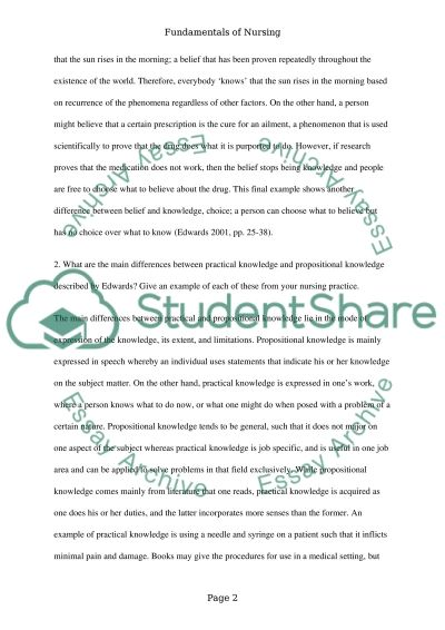 Fundamentals of Nursing Essay example