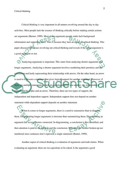 is it a good argument critical thinking essay example  topics and  is it a good argument critical thinking