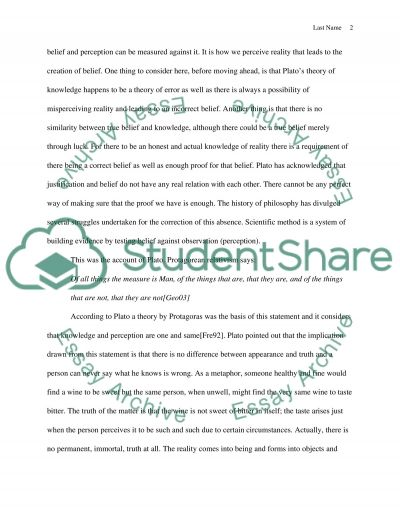 Platos Theory of Knowledge essay example