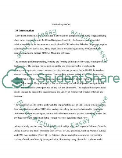 Business plan to develop a small business - Engineering or Manufacturing Based essay example
