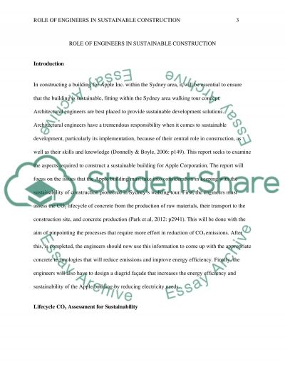 Role of Engineers in Sustainable Construction essay example