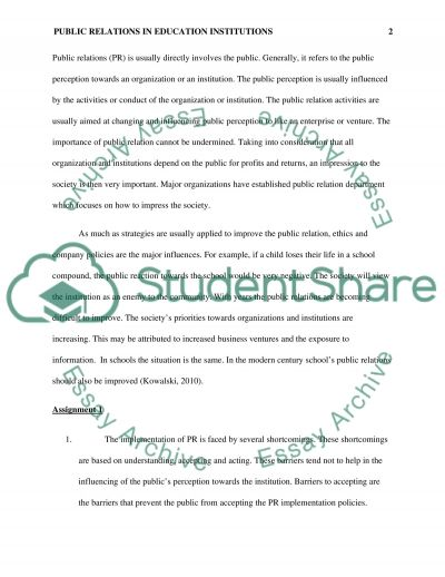Public Relations in the Education Institutions essay example
