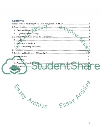 Fundamentals of Marketing: Case Study Assignment - NISSAN