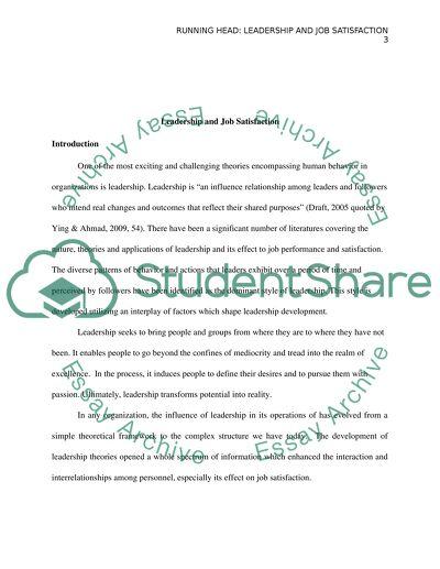 Leadership and jopsatisfaction essay example