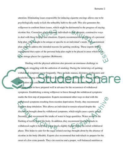 thinking how to quit smoking essay example