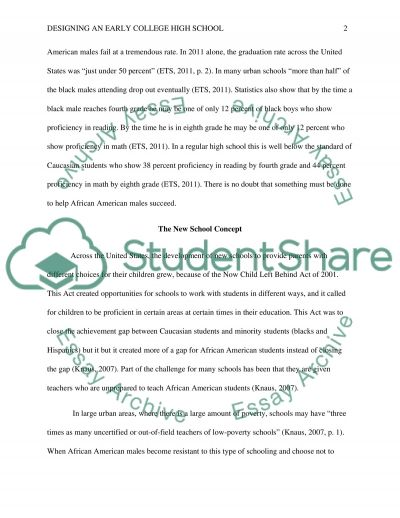 Desiging and Early College High School for African American Males essay example