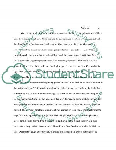 Gene One essay example