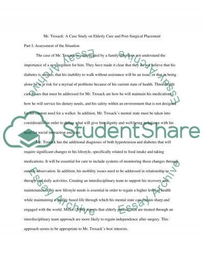 Mr Trosack: A Case Study on Eldery Care and Post-Surigical Placement essay example