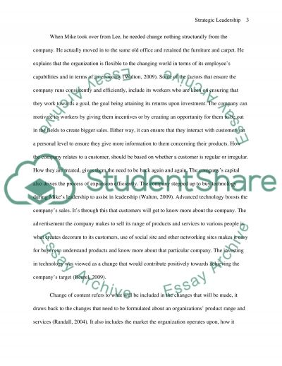 strategic leadership Essay example
