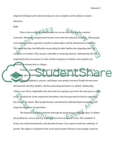 Pros And Con Of Industrial Revolution Essay Example  Topics And  Pros And Con Of Industrial Revolution