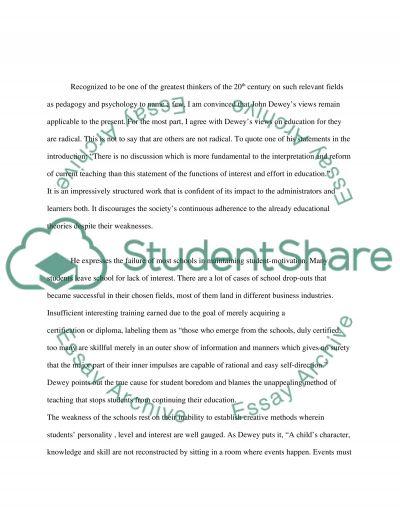 John Deweys interest and effort in education
