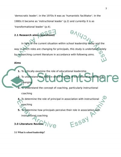 Principal Perspective from Coaching Teachers lessons essay example