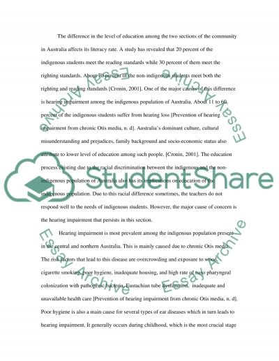 Hearing impairment essay example