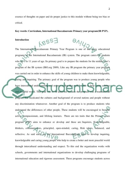 International baccalaureate primary-year-program essay example