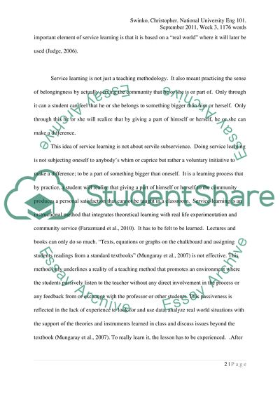 Service Learning English Essay