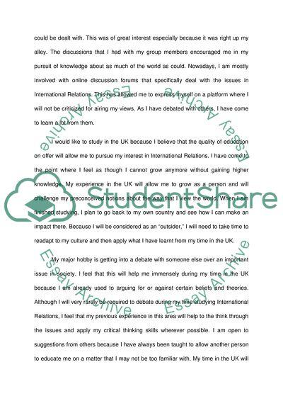 economics and international relations personal statement