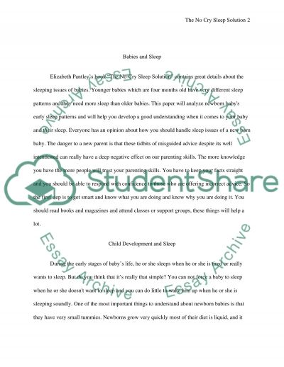 Book Report: The No Cry Sleep Solution essay example