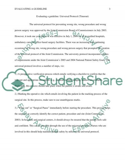 Evaluating A Guideline essay example