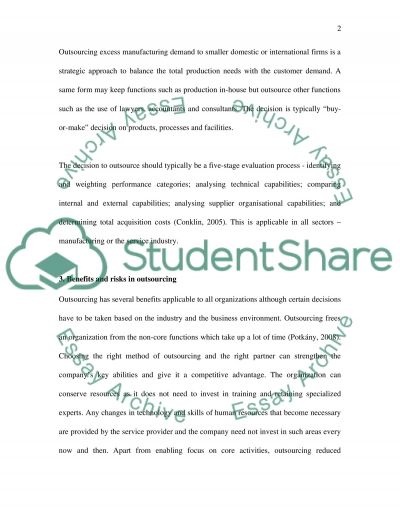 Management study: Outsourcing essay example