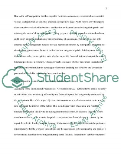 Auditing And The Public Interest essay example