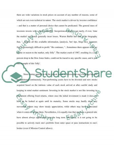 Stock Market High School Essay essay example