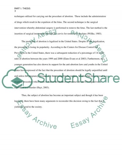 Should abortions be legal essay example