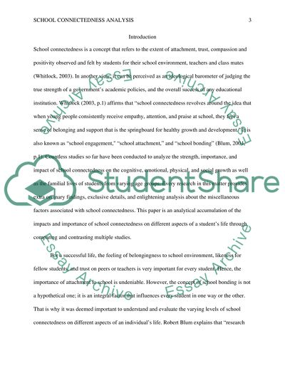 School Connectedness analysisi based on multiple studies
