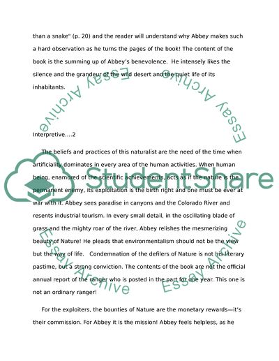 Essays With Thesis Statements Edward Abbey Desert Solitaire A Season In The Wilderness Argumentative Essay Examples High School also Global Warming Essay In English Edward Abbey Desert Solitaire A Season In The Wilderness Essay Essays On English Literature