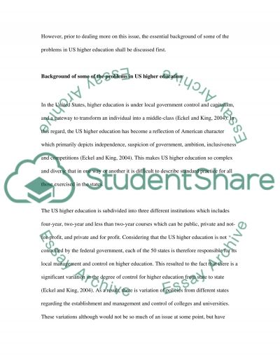 Changes in US higher education essay example