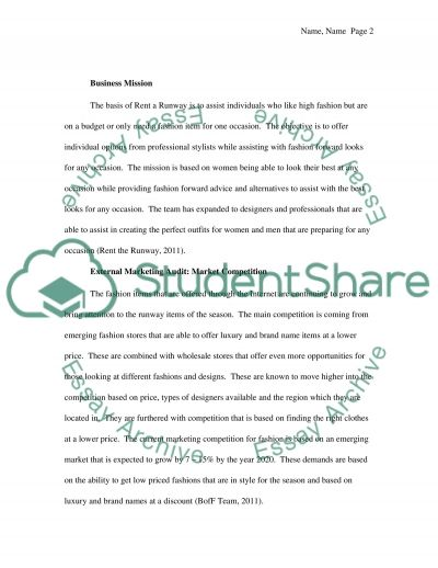 Marketing plan for rent a runway essay example