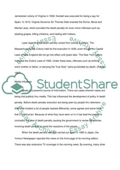 Death Penalty College Essay essay example
