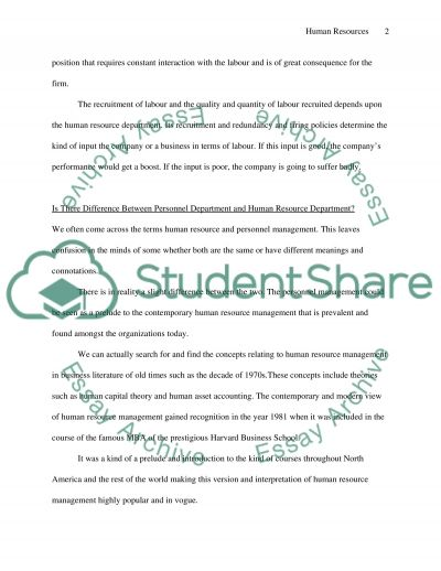 Human Resources essay example