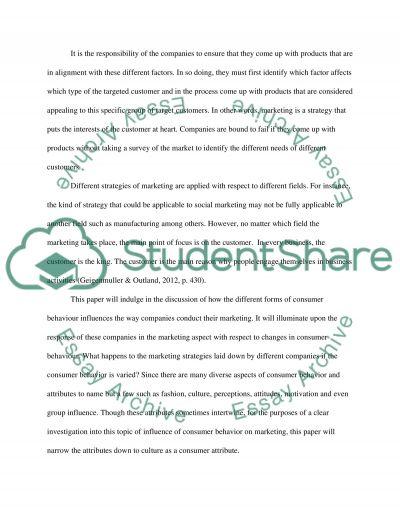 Consumer behaviour and marketing essay example