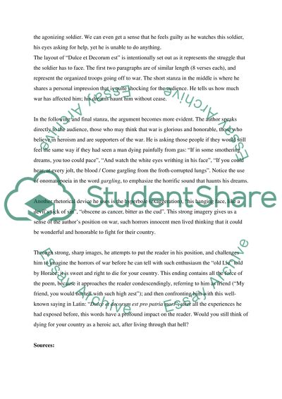 Student Life Essay In English Wilfred Owens Dulce Et Decorum Est Essays On The Yellow Wallpaper also Essay On Religion And Science Wilfred Owens Dulce Et Decorum Est Essay Example  Topics And Well  English Language Essay