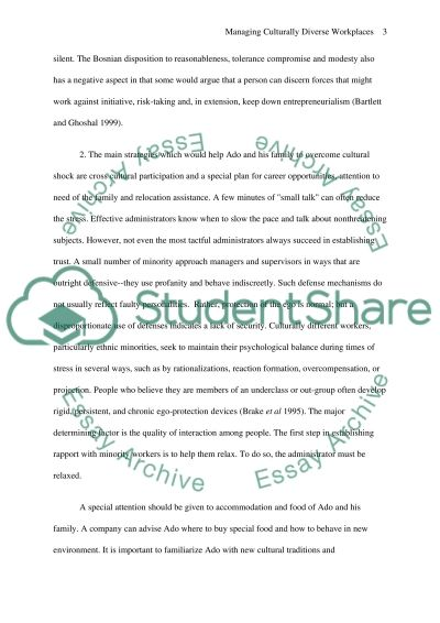Managing Culturally Diverse Workplaces Essay example