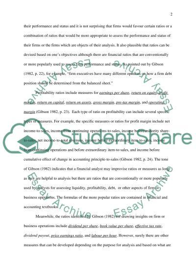 Ratio Analysis essay example