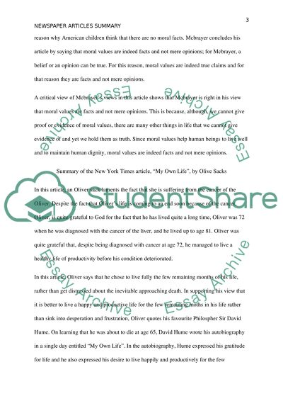 newspaper articles summary assignment example