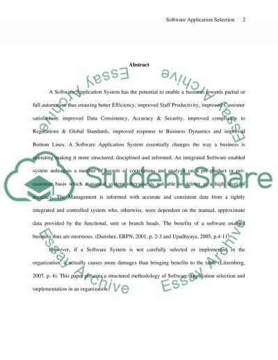 Software Application Selection essay example