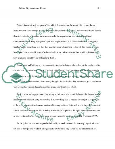 School Organizational Health