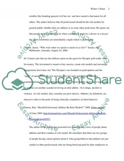 Should Athletes be role models essay example