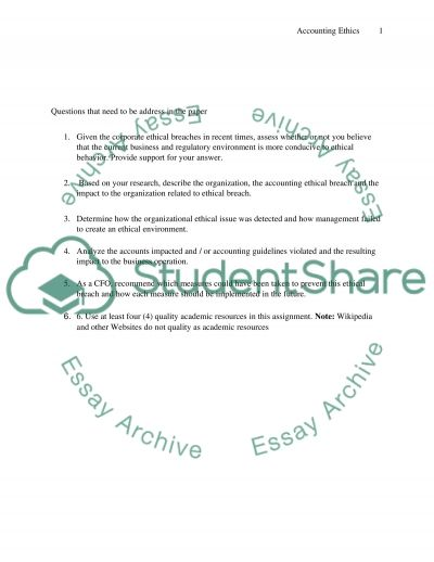 Review of Accounting Ethis: Assignment essay example