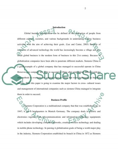 The Globalization and Culture Issues of Siemens in China essay example